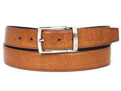 Paul Parkman Crocodile Embossed Calfskin Belt Camel B02-CML