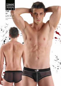 Eros Veneziani Contrast Stitching Stripe & Opaque Pouch Sheer Slip Brief Underwear Black/White 7189