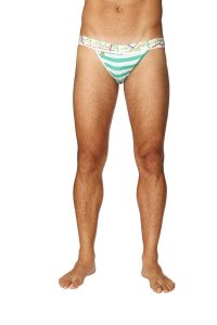 4-rth Zen Stripe Jock Strap Underwear Nautical Green