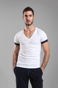 Buns Contrast Sleeve Hem V Neck Short Sleeved T Shirt White/Marine G-60-VN-4-COT-94