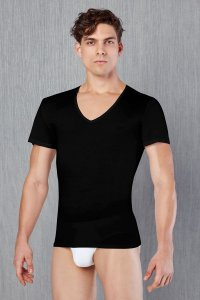 Doreanse V Neck Short Sleeved T Shirt Black 2530