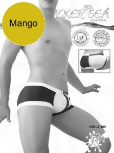 Icker Sea Chess Duotone Square Cut Trunk Swimwear Mango/Whit...