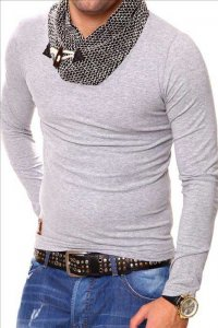 Carisma Scarf Neck 7525-1 Long Sleeved T Shirt Grey