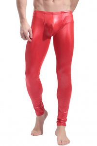 SXYFKR Faux Leather Tight Pants Red 013