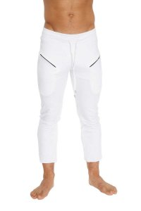 4-rth 4/5 Zipper Pocket Capri Yoga Pants White