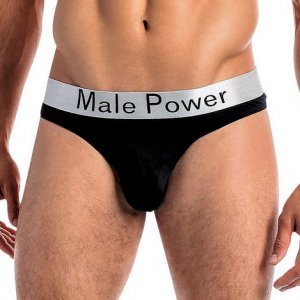 Male Power Modal Basics Lo Rise Thong Underwear Black 438-227
