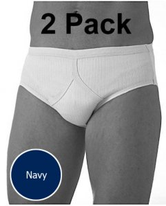 [2 Pack] Jockey Comfort Rib Y-Front Brief Underwear Navy