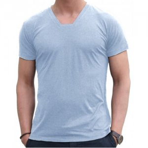 Blunt Neck Basic Short Sleeved T Shirt Baby Blue B-M-T-SS-BB