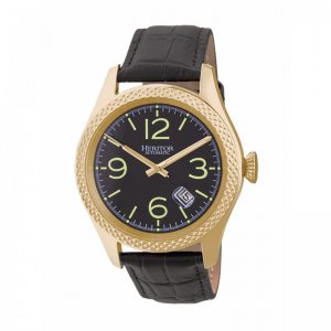 Heritor Automatic Barnes Leather-Band Watch w/Date - Gold/Bl...