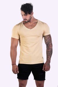 JJ Malibu Hidden Gem Topaz V Neck Short Sleeved T Shirt Beig...