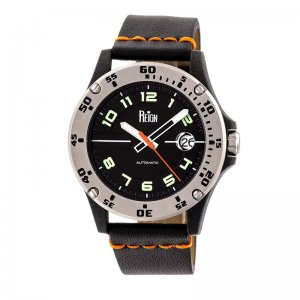 Reign Emery Automatic Leather-Band Watch w/Date - Silver/Black/Black REIRN5002