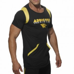 Addicted Lounge Short Sleeved T Shirt Black/Yellow AD162