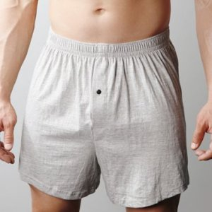 [2 Pack] Players Big Man's Cotton Knit Loose Boxer Shorts Underwear Heather Grey+Black