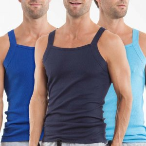 Papi [3 Pack] Premium Cotton Square Neck Tank Top T Shirt Blue+Light Blue+Navy 559102-400