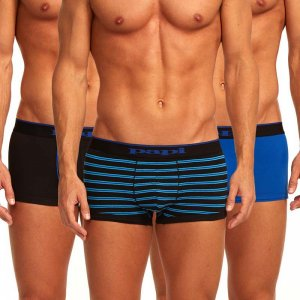 Papi [3 Pack] Cotton Stretch Brazilian Combo Trunk Underwear Blue 980502
