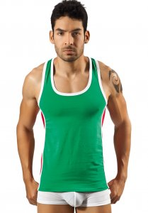 Clever Clever Sporty Hoodie Tank Top T Shirt Green 7017