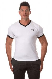 Bloke Undees Muscle V Neck Short Sleeved T Shirt White BTS-VNK-W