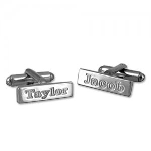 Personalized Men's Jewelry Personalized Silver Cufflinks 101-17-257-04