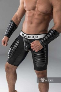 Maskulo Armored Codpiece Open Rear Thigh Pads Fetish Shorts ...