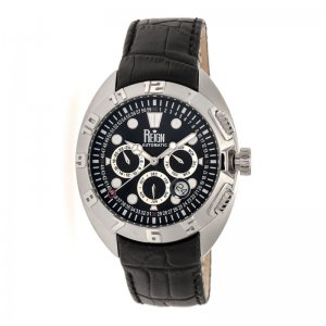 Reign Ronan Automatic Leather-Band Watch w/Day/Date - Black/Silver/Black REIRN3402