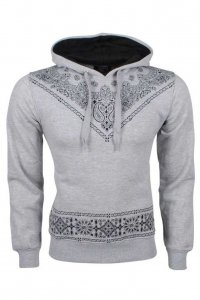Carisma Patterned Hoodie Long Sleeved 7917-2 Sweater Grey