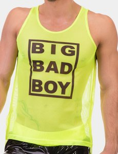 Barcode Berlin Big Bad Boy Neon Mesh Tank Top T Shirt Green/Black 91610-518
