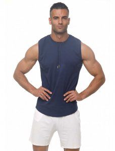 Marcuse Hero Muscle Top T Shirt Navy