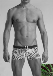 Geronimo Shallow Low Rise Boxer Square Cut Trunk Swimwear Brown 1121B2