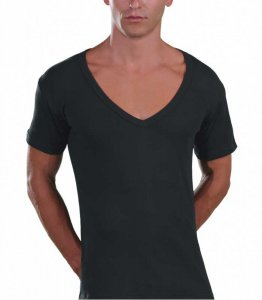 Lord Too Open Deep V Neck Short Sleeved T Shirt Charcoal 1231