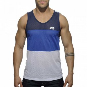Addicted 3 Colours Mesh Low Rider Tank Top T Shirt Navy/Blue