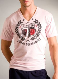 Timoteo Athlete V-Neck T Shirt Pink NM7196P