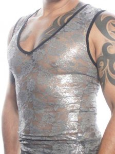 Eddie Valentin Rose Lace Muscle Top T Shirt Silver Foil EV006