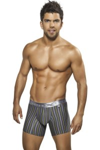 Xtremen Stripe Microfiber Boxer Brief Underwear Grey 51311