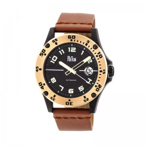 Reign Emery Automatic Leather-Band Watch w/Date - Gold/Black/Brown REIRN5006