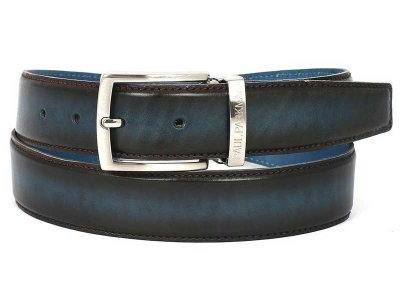 Paul Parkman Two Tone Leather Belt Brown & Blue B01-BRW-BLU