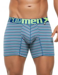 Xtremen Stripe Microfiber Boxer Brief Underwear Blue 51386