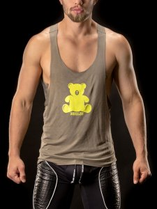 417857cd1df28f Barcode Berlin Bear Muscle Large Armhole Tank Top T Shirt Army 90956-1200