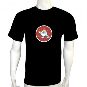 LED Electro Luminescence Santa Claus Funny Gadgets Rave Party Disco Light T Shirt 12343