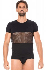 Lookme Mesh Panel Zipper Short Sleeved T Shirt Black 2004-81