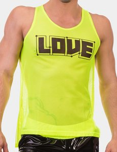 Barcode Berlin Love Neon Mesh Tank Top T Shirt Green/Black 91612-518