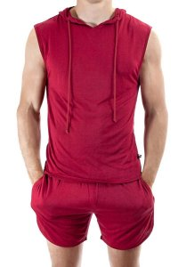 L'Homme Invisible Play Hooded Sleeveless Sweater Red SP128-E...