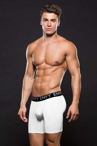 Envy Micro Low Rise Logo Athletic Boxer Brief Underwear White E046