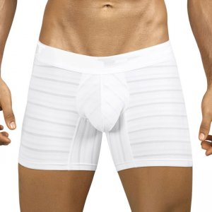 PPU Stripe Microfiber Boxer Brief Underwear White 1022