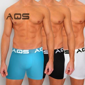 AQS [3 pack] Cyclist Trunk Boxer Underwear Black/Light Blue/...