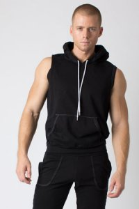 Timoteo Jet Set Hoodie Sleeveless Sweater Black 7228