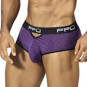 PPU Stripe Cut Out Brief Underwear Purple/Black 1309
