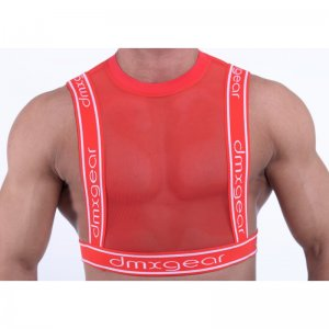 DMXGEAR Sweet Mesh Luxury Cropped Muscle Top T Shirt Red DMX18SW18