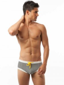 N2N Bodywear Mykonos Stripes Square Cut Trunk Swimwear Black/White MB2