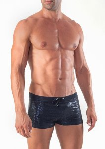 Geronimo Square Cut Trunk Swimwear Black 1514B1-2