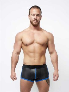 Mister B Neoprene Full Zip Shorts Black/Blue 340410